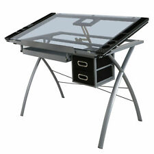 Adjustable Drawing Desk Drafting Table Tempered Glass Top Art Craft Station
