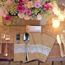 25pcs Burlap Lace Cutlery Holder Forks Bag Tableware Pouch Wedding Party Dining