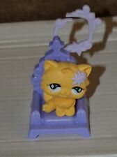 Littlest pet shop yellow cat with flower in chair