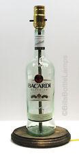 BACARDI RUM Liquor Bottle TABLE LAMP Light & Wood Base Bar Lounge Man Cave Decor