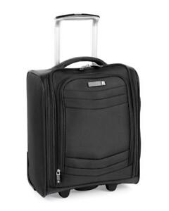 Black Under Seat Wheeled 17 Inch LUGGAGE Fully Lined Laptop Compartment Padded S