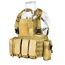 DLP Tactical RRV Chest Rig MOLLE Vest in Tan with four pouches