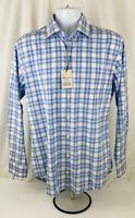 Peter Millar Men's Crown Finish L/S Button Down Blue Plaid Shirt Size M