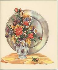 VINTAGE GARDEN FLOWER WHITE GRAY SILVER PLATE PITCHER VASE CARD STILL LIFE PRINT