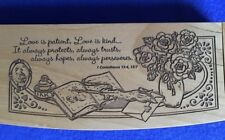 Wooden Pencil Box with Wood Pen Gift, Carved Engraved Design, Love is Patient