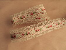 White Beading Lace Trim with Pink Floral Ribbon, 3 YARDS, Apparel, Lingerie