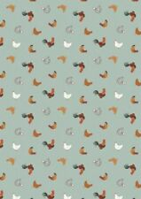 Small Things Farm Chickens Hens Duck Egg Blue Cotton Quilting Sewing Fabric