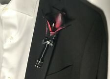 Seductive Elegance Real Touch Calla Lily Boutonniere Dark Purple Black Prom