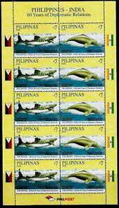 Philippine-India 2009 Marine Mammal Whale Shark Dolphin sheetlet/10 mint NH