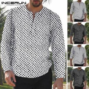 Retro Men's Long Sleeve T shirt Slim Fit Causal Hippy Tee Polka Dot Tops Shirt