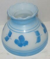 Vtg Milk Glass Blue Hand Painted Floral Hurricane Lamp Gone with the Wind Shade