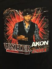 Usher With Special Guest Akon Omg Tour 2011 Black T Shirt Size Large