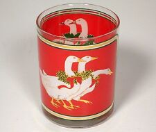 Culver Holly Goose Geese Christmas Old Fashion Glass Glasses Red Gold Green
