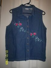 Cabin Creek Sleeveless Blue Jean Blouse Sz L w/Embroidered Roses