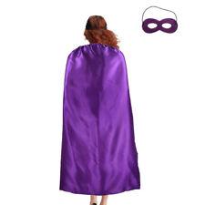 Men's & Women's Superhero Fancy Dress Costume Cape & Mask (Purple)