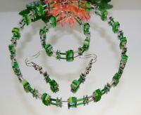 3er Schmuckset Halskette Armband Ohrringe Würfel Millefiori grün silber254ag