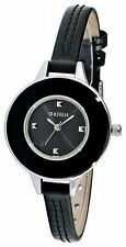 NEW LADIES MORGAN DE TOI WATCH BLACK DIAL GENUINE BLACK LEATHER STRAP M945B
