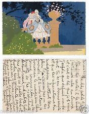 pierrot,scène d'amour,couple.carte peinte a la main .pierrot, painted love scene