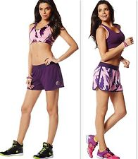 ZUMBA 2Pc.Set! Posh in Pink-Reversible SHORTS & Sports BRA TOP Work-Out,Running