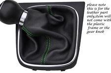 Verde Costura encaja Vw Scirocco 2008-2013 + Cuero Gear Polaina sólo