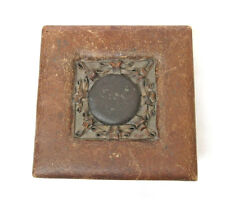 Vintage leather trinket box Hand made tooled ornaments