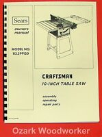 Craftsman 10 Quot Table Saw 113 299120 Operator Amp Parts Manual