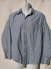 Aeropostale Men's Striped Long Sleeve Shirt Blue Green White Slim Fit Medium