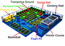 4,000 sqft Commercial Trampoline Park Dodgeball Climb Gym Inflatable We Finance