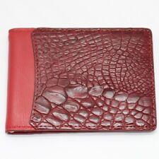 Genuine Red Crocodile Leather Skin Men's Money Clip Bifold Wallet