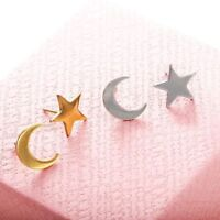 Surgical Steel Women Men Kids Gold/Silver/ Star Moon Lovely Shape Stud Earrings