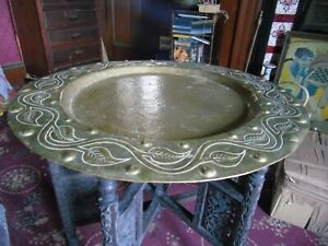 ANTIQUE ARTS & CRAFTS CARVED BEATEN HEAVY BRASS TRAY TABLE  LIBERTY'S  PEARSON