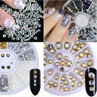 AB Color Rhinestone 3D Nail Art Decoration Flat Bottom  Decor Nails Tips