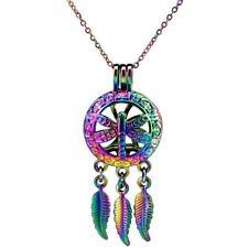 C709 Multi Color Dragonfly Pearl Cage Dangle Leaf Charms Pendant