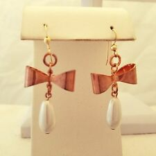 Gold Filled Bow And Pearly Hook Earrings