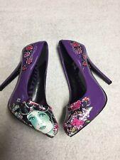 Ed Hardy Women's Purple Floral Slip On High Heel Dress Shoes Size Sz 5 Medium M