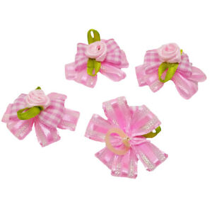 4X Pink Girl Puppy Dog Cat Hair Bows w/ Rubber Bands Flowers Grooming Accessory