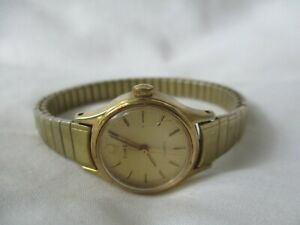 Timex Watch Gold Toned Stretch Band Water Resistant Vintage Elegant