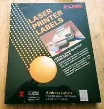 "Laser Printer Address Labels 3000 per Box. ""Z-Label"" 30200"