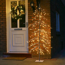 6FT INDOOR OUTDOOR PRE LIT DOWNSWEPT SNOWY TWIG CHRISTMAS DECOR TREE LED LIGHT