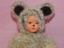 Dollhouse Miniature  Doll Baby in Teddy Bear Costume Caco German  1:12