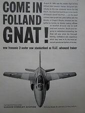 7/1960 PUB HAWKER SIDDELEY FOLLAND GNAT RAF ADVANCED TRAINER ORIGINAL AD
