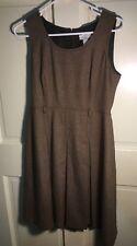 Loft brown wool tweed jumper dress w/ pleats, size 8 petite, modest