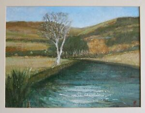 James Carlisle - 1937-2019 - Tree in a river landscape - jewel of a painting
