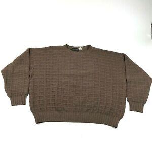 Vintage Saks Fifth Avenue Sweater Jumper Sz XL Brown Wool Cashmere Waffle Knit