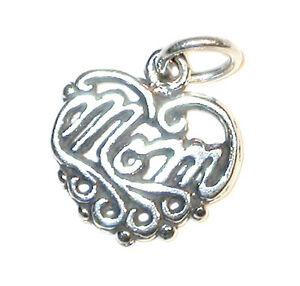 STERLING SILVER Word Charm Mother's Day Filigree MOM HEART