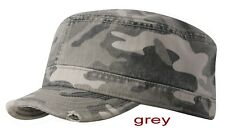 Camo Military Cap with Torn Edge