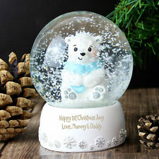 Personalised Message Christmas Snow Globe - Polar Bear - Boys and Girls