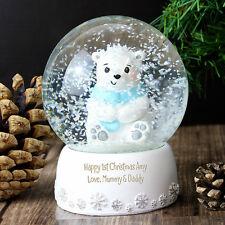 Personalised Message Christmas Snow Globe - Polar Bear - Boys and Girls