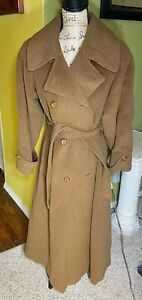 Womens Vintage Perry Ellis Trench Wool Coat Size 8 USA Made Union Tag SAKS FIFTH