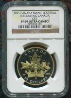 2015 CANADA $10 SILVER MAPLE LEAF - CELEBRATING CANADA - GILT  NGC PF69 UC
